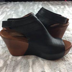 KORK-ease black leather wedges size 9
